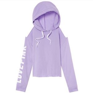 Pink Victoria's Secret Cold Shoulder Purple Hoodie